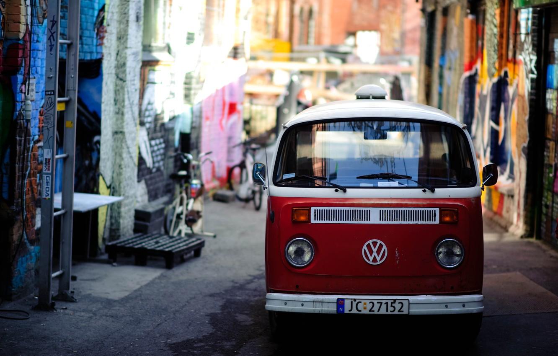Photo wallpaper red, bright, the city, street, graffiti, volkswagen, van, narrow