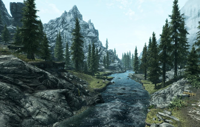 Photo wallpaper trees, landscape, mountains, river, The Elder Scrolls V Skyrim