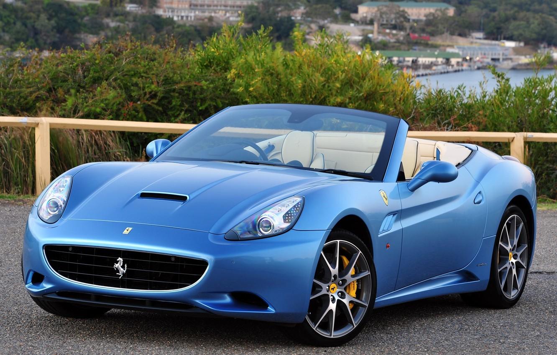 Photo wallpaper Machine, Ferrari, Convertible, CA, Desktop, Car, Car, Beautiful, Blue, Wallpapers, Beautiful, Ferrari California, Blue, Cabrio, …