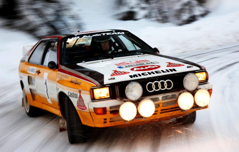 Photo wallpaper Audi, Audi, Snow, Speed, Light, Car, Car, Speed, Snow, Quattro, Wallpapers, Rally, Rally, Group B, …