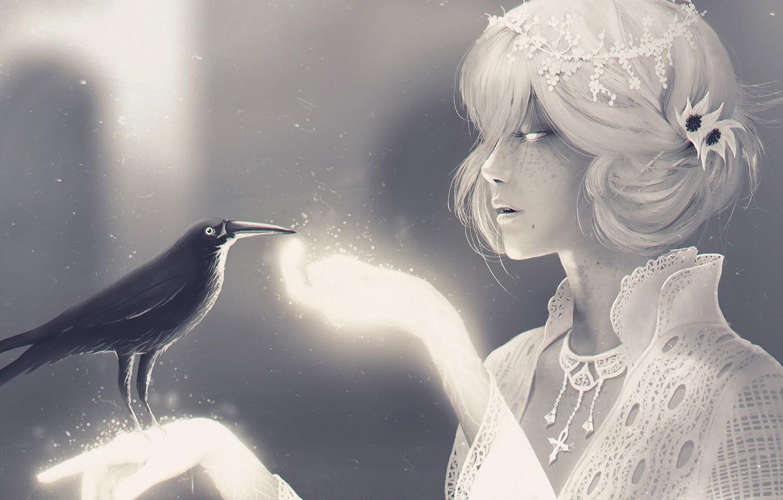 Photo wallpaper girl, decoration, bird, Raven, Neil Gaiman, Mr Raven and Miss Death