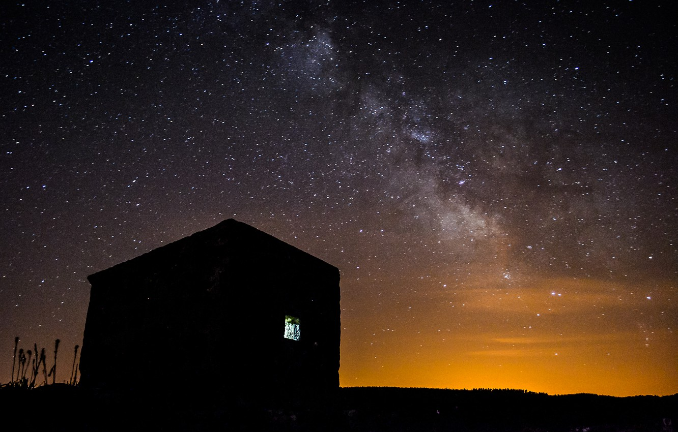Photo wallpaper stars, night, space, house, the milky way