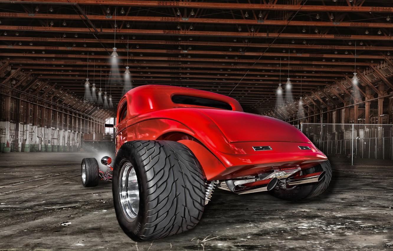 Photo wallpaper retro, hangar, classic, rear view, hot-rod, classic car