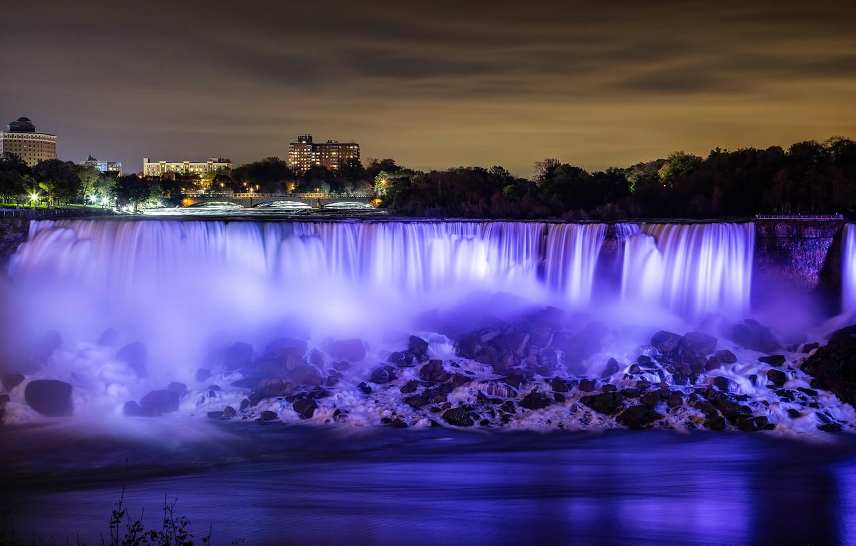 Wallpaper The Sky Night Lights River Home Niagara Falls