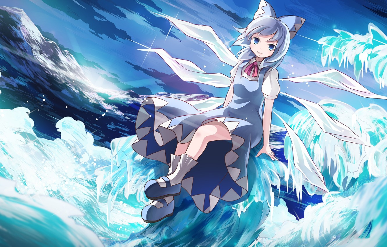 Photo wallpaper the sky, girl, clouds, mountains, nature, wings, art, crystals, touhou, cirno, risuta an