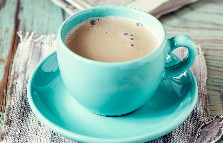 Photo wallpaper foam, table, coffee, mug, drink, saucer, napkin