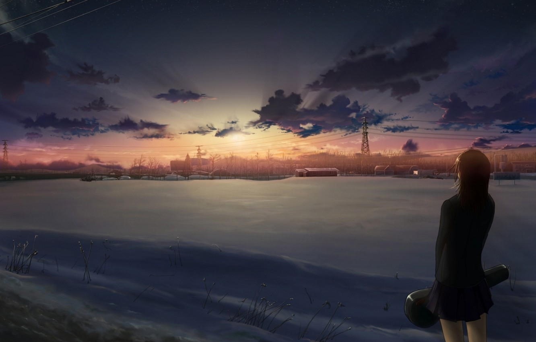 Photo wallpaper field, girl, snow, sunset, wire, anime, art, schoolgirl, 5 centimeters per second, 5 centimeters per …