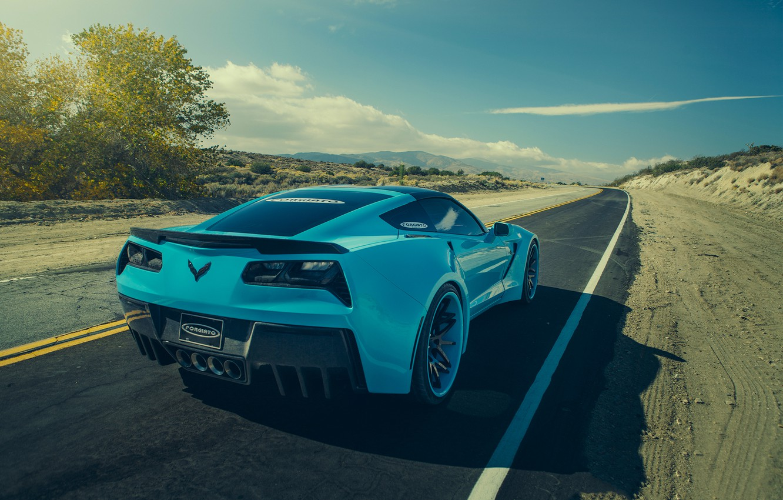 Photo wallpaper Corvette, Chevrolet, Car, Blue, Stingray, Rear, Forgatio