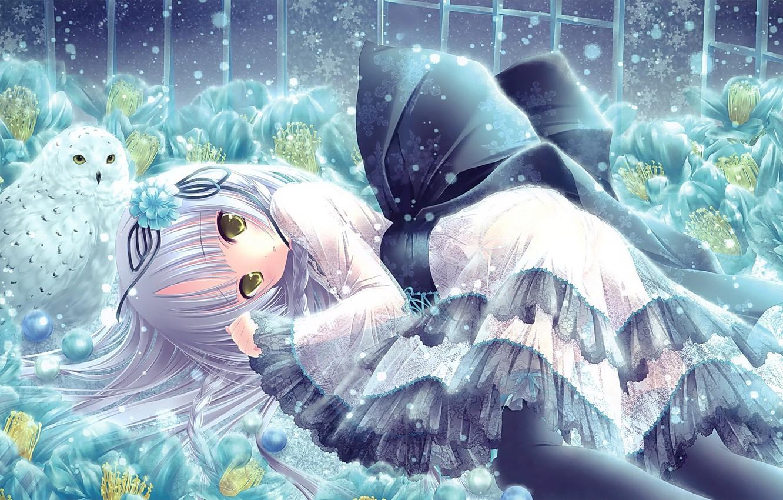 Photo wallpaper snow, flowers, snowflakes, owl, Girl