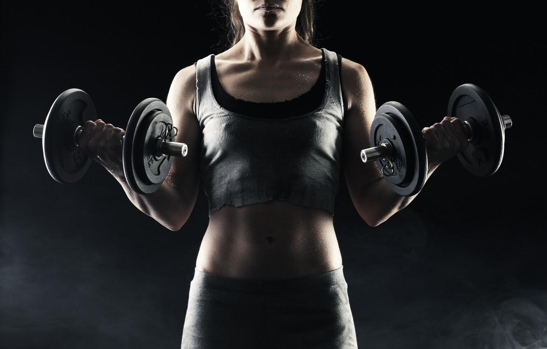 Photo wallpaper woman, exercise, fitness, torso, dumbbells