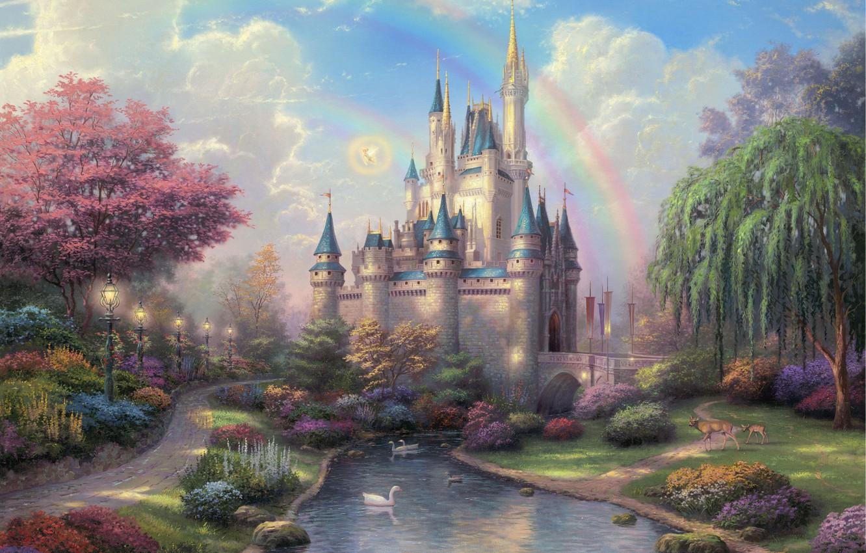 Photo wallpaper trees, flowers, bridge, Park, river, castle, duck, rainbow, lights, track, painting, Disneyland, deer, path, IVA, …