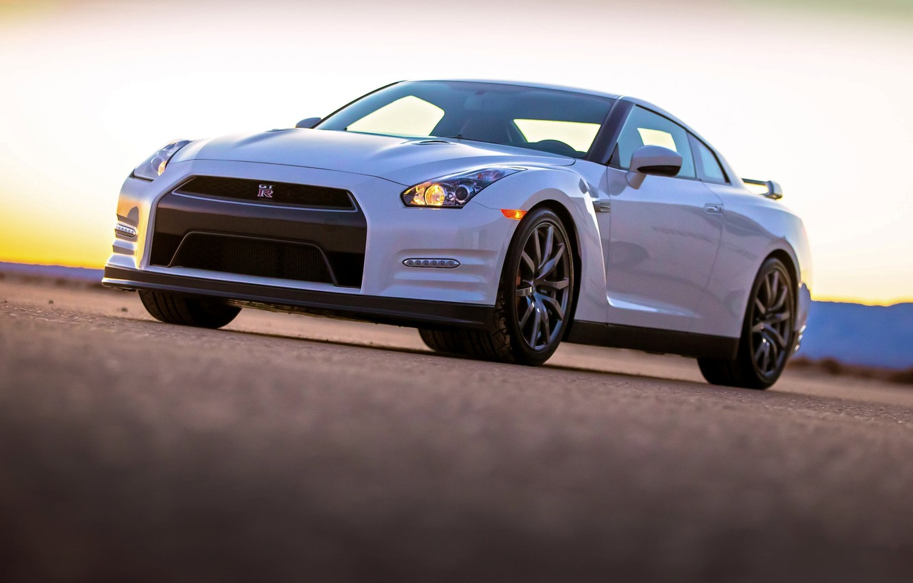 Photo wallpaper Auto, White, Nissan, Nissan, GT-R, Lights, The front
