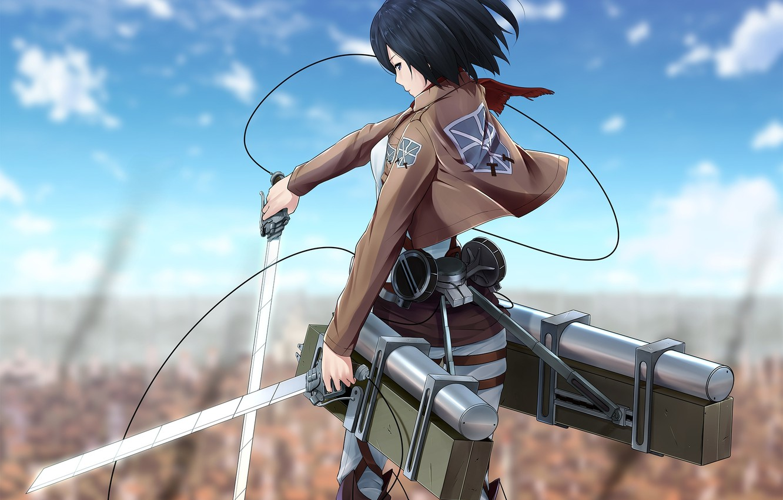Photo wallpaper look, girl, the city, wall, anger, scarf, swords, art, shingeki no kyojin, mikasa ackerman, fixtures, …