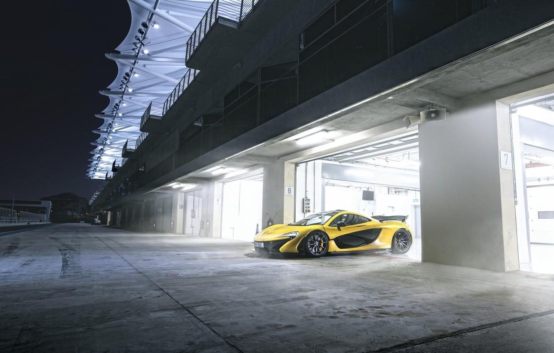 Photo wallpaper Yellow, Supercar, Garage, Track, McLaren P1, Yas Marina Circuit