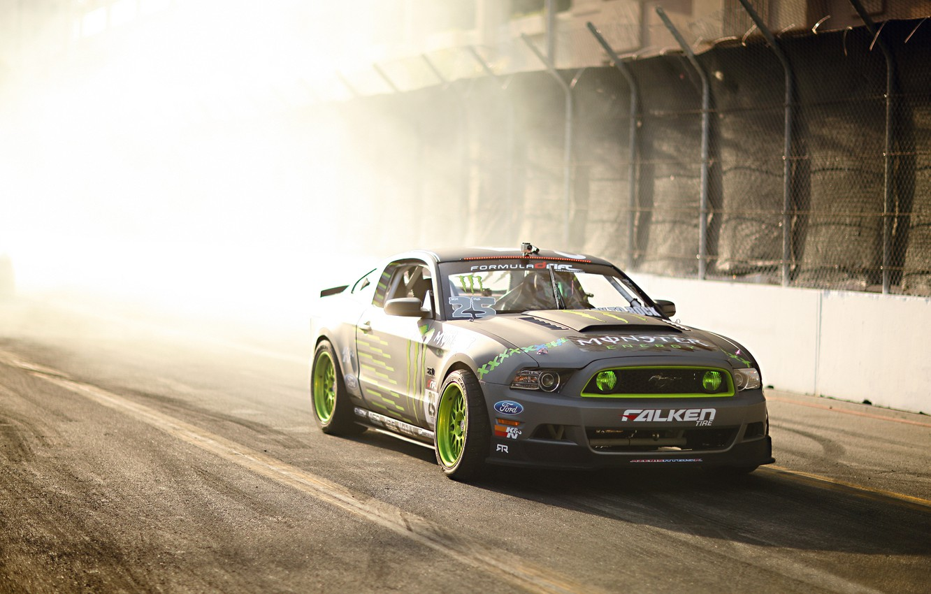Photo wallpaper Mustang, Ford, Drift, Sun, Monster Energy, Smoke, Tuning, Team, Hawks, Competition, Sportcar, TG-500