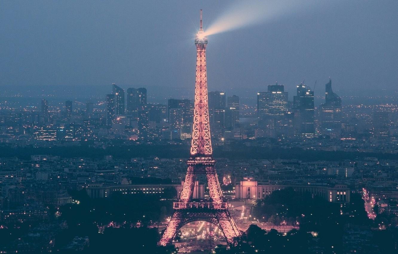 Photo wallpaper France, Paris, Home, Lights, The city, Street, City, Eiffel tower, Paris, Twilight, Streets, France, Lights, …