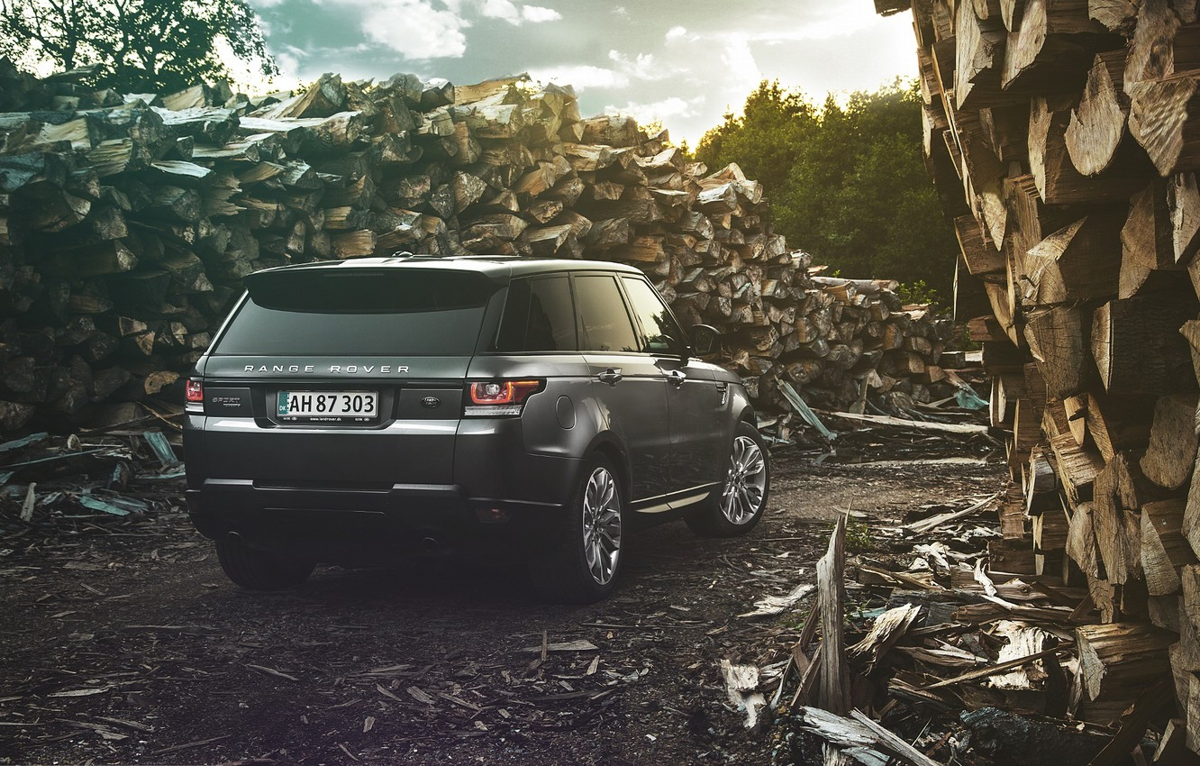 Photo wallpaper Land Rover, Range Rover, Car, Nature, Wood, 4x4, Sport, Diesel, Luxury, Forrest, English, Rear