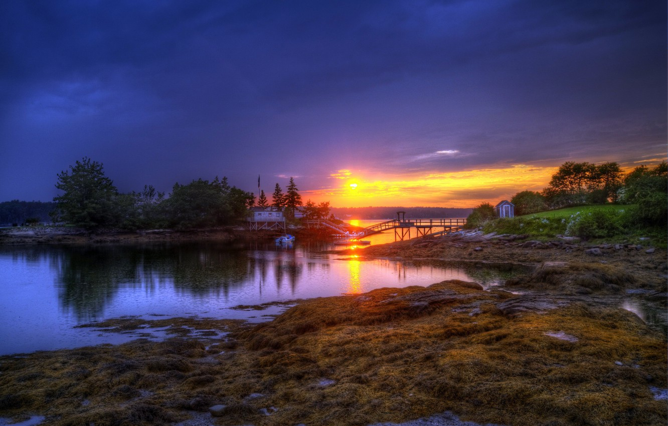 Photo wallpaper FOREST, The SKY, CLOUDS, HOUSE, POND, SUNSET, SHORE, RIVER, ISLANDS, The BRIDGE, BOAT