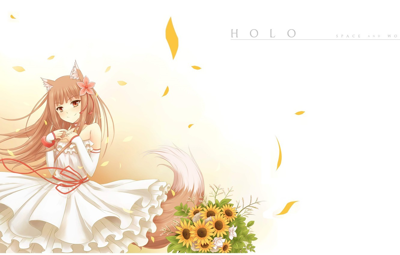 Photo wallpaper smile, bouquet, petals, tail, white dress, ears, Spice and wolf, red thread, Holo, Spice and …