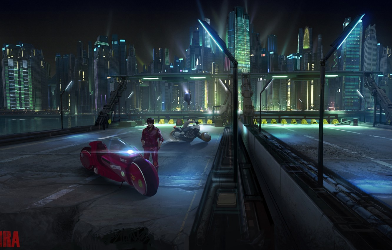 Photo wallpaper bridge, future, fiction, building, skyscrapers, highway, lights, motorcycle, ruins, bike, cyberpunk, postapocalyptic, Akira, Akira, Kaneda's …