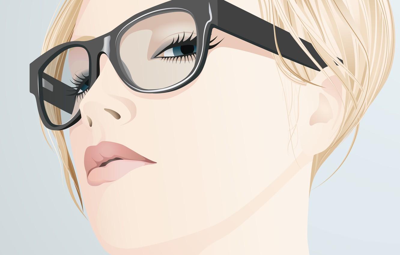 Photo wallpaper look, girl, face, eyelashes, vector, glasses, blonde