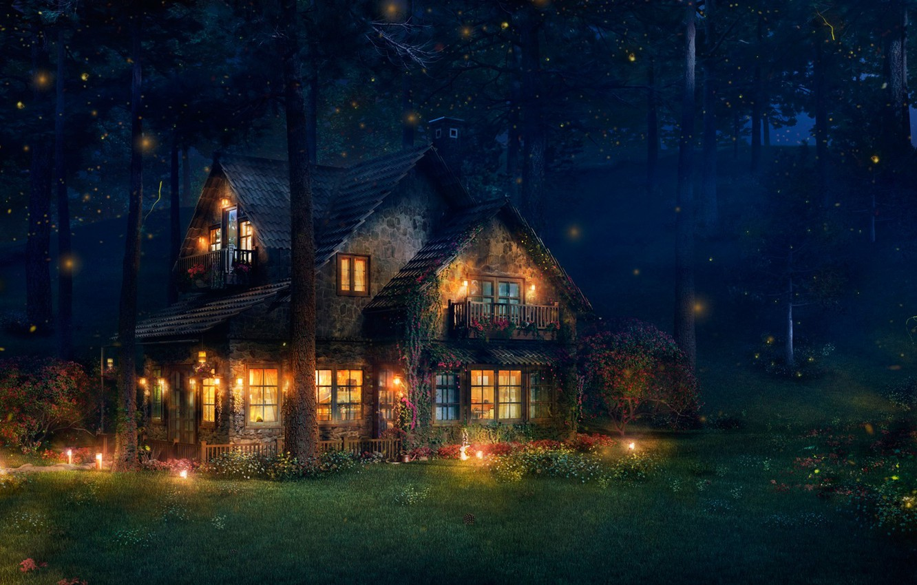 Wallpaper Forest House Fireflies Art The Firefly Cottage Images For Desktop Section Priroda Download