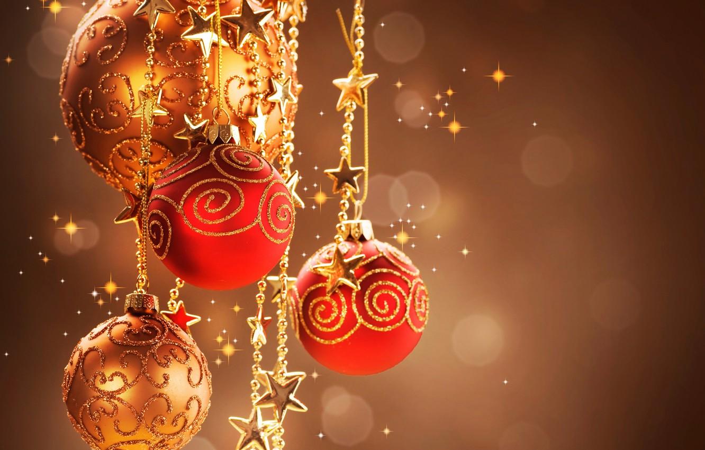 Photo wallpaper stars, balls, toys, New Year, Christmas, red, Christmas, gold, New Year, Christmas