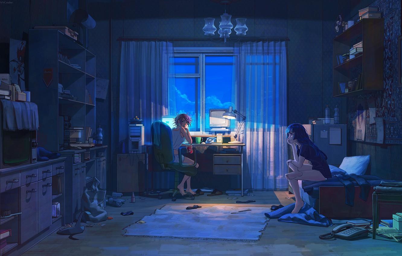 Photo wallpaper computer, night, room, girls, things, lamp, TV, art, drinks, friend, shelves