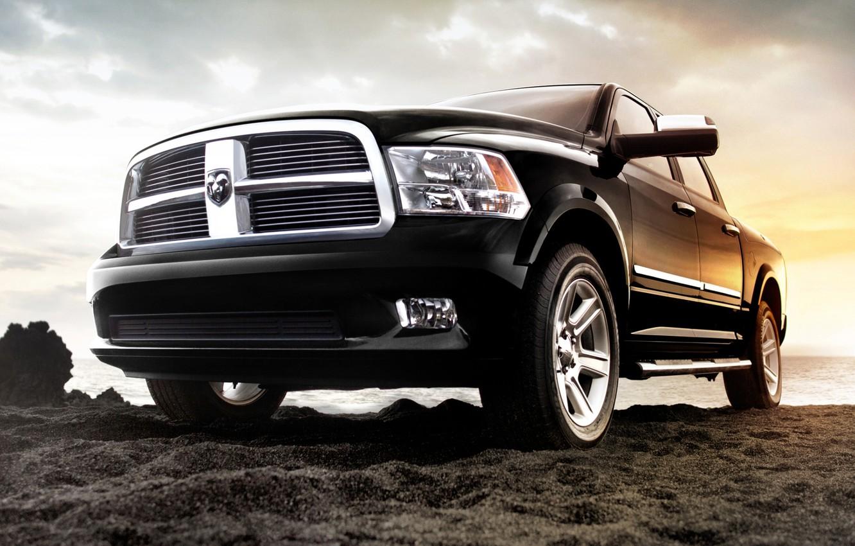 Photo wallpaper sand, the sky, shore, jeep, SUV, Dodge, pickup, dodge, the front, 1500, laraman limited, Ram, …
