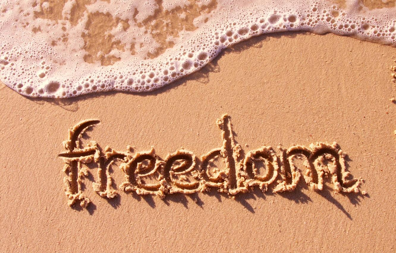 Photo wallpaper sand, sea, beach, freedom, mood, the inscription, wave, freedom