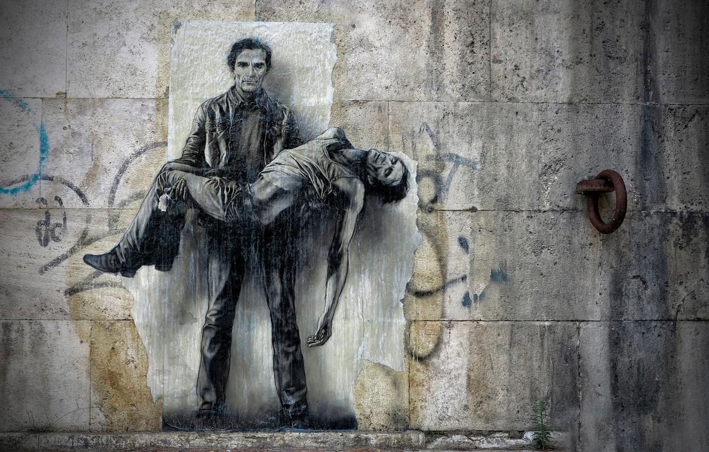 Photo wallpaper wall, figure, art, mural, concrete