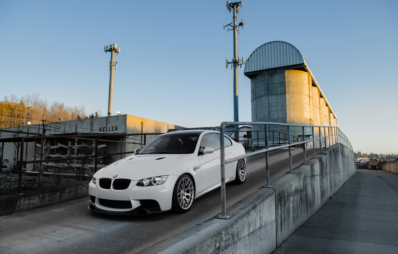 Photo wallpaper white, the sky, bmw, BMW, coupe, the fence, white, e92, Congress