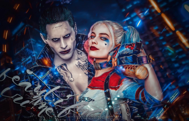 Photo wallpaper Joker, Joker, Jared Leto, Jared Leto, Margot Robbie, Margot Robbie, Suicide Squad, Suicide Squad