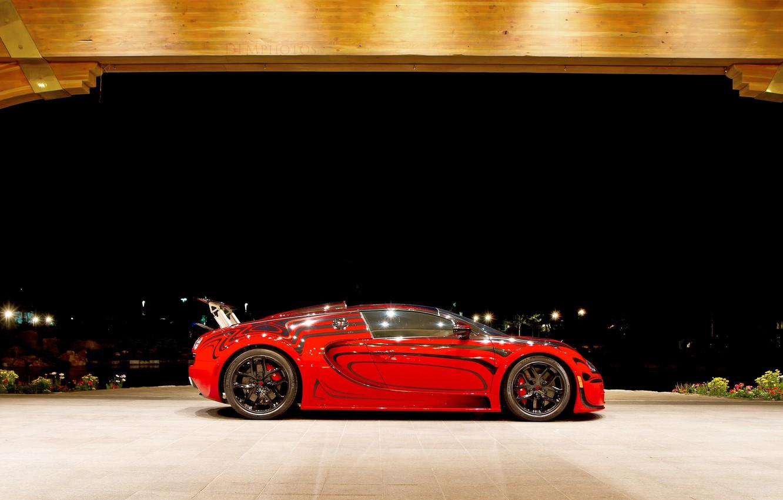 Photo wallpaper red, Bugatti, Veyron, Bugatti Veyron, hypercar
