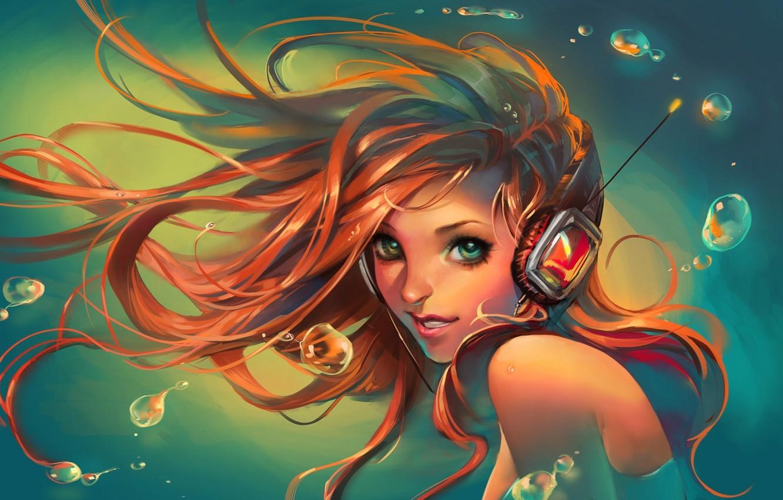 Photo wallpaper look, water, girl, smile, headphones, art, sakimichan
