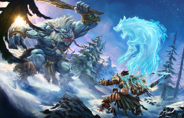Wallpaper snow, monster, spirit, warrior, fantasy, art, battle images for  desktop, section фантастика - download