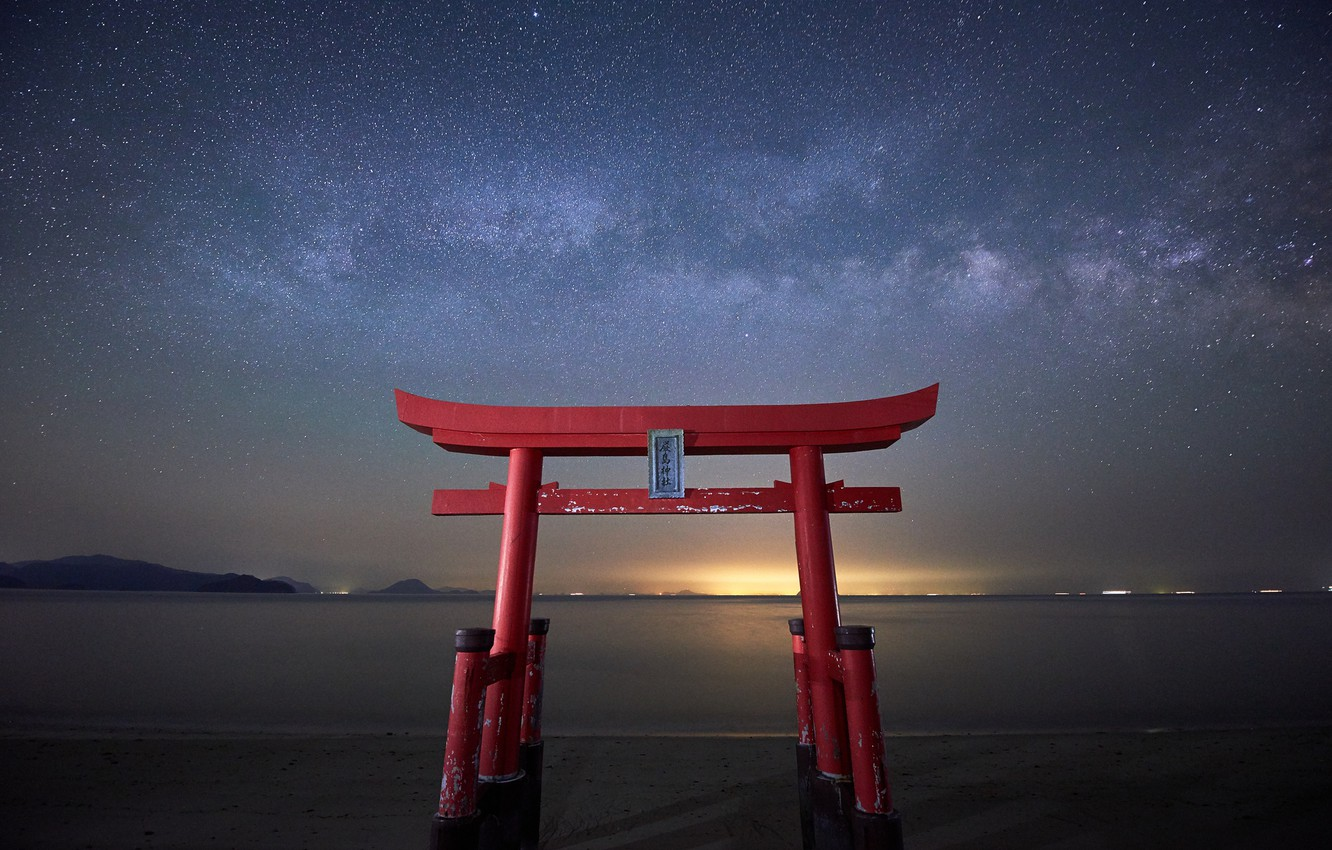 Wallpaper Stars Gate Japan The Milky Way Japan Torii Images For
