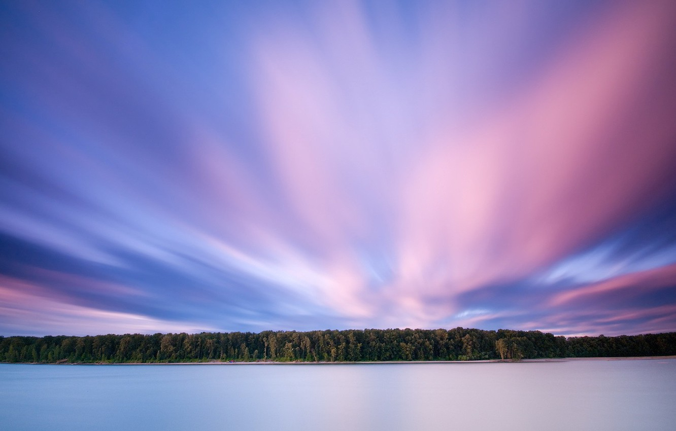 Photo wallpaper forest, clouds, lake, pink, 156