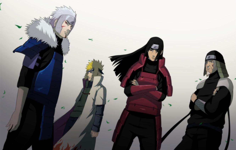 Photo wallpaper leaves, anime, art, naruto, cloak, naruto, namikaze minato, men, Hokage, senju hashirama, sarutobi sends the …