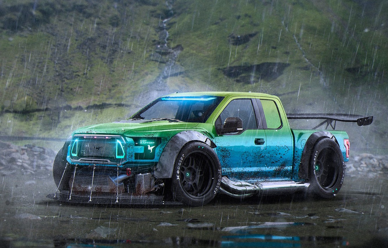 Photo wallpaper Ford, Car, Rain, Rendering, F-150, by Khyzyl Saleem, RaptorTrax
