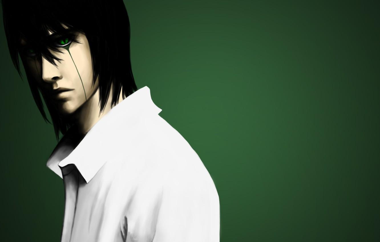 Photo wallpaper art, shirt, guy, bleach, green background, tesorone, ulquiorra schiffer