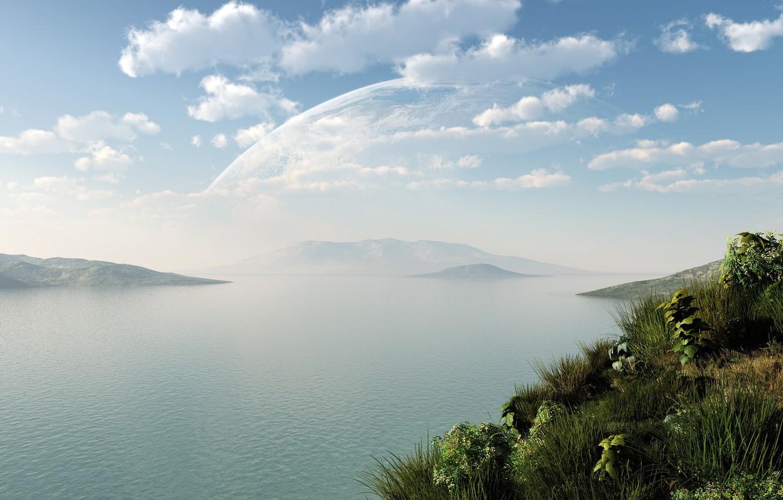 Photo wallpaper greens, grass, water, clouds, landscape, lake, river, hills, planet, art