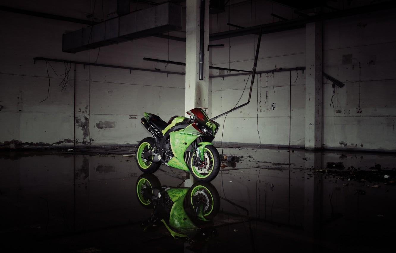 Photo wallpaper reflection, green, lights, motorcycle, green, yamaha, bike, Yamaha, yzf-r1