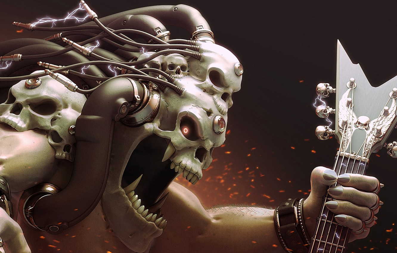 Photo wallpaper wire, skull, guitar, monster, head, art, electricity, sparks, mouth, fangs, charge