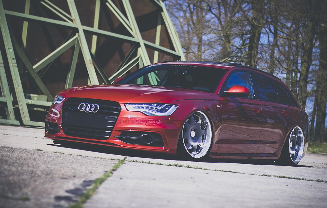 Photo wallpaper Audi, red, wagon, stance, before