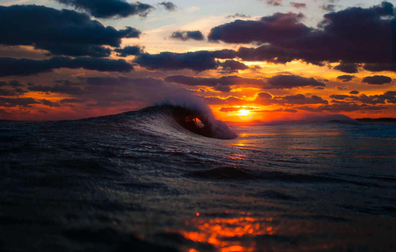 Photo wallpaper winter, sea, wave, the sky, the sun, clouds, sunset, the ocean, Benny Crum photography