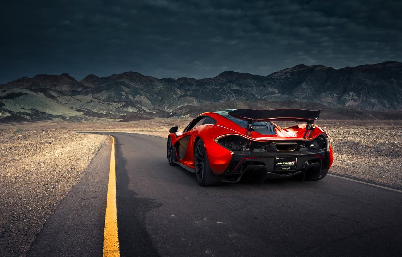Photo wallpaper McLaren, Orange, Front, Death, Sand, Road, Supercar, Valley, Spoiler, Hypercar, Exotic, Rear, Volcano, Extra, Terrestrial