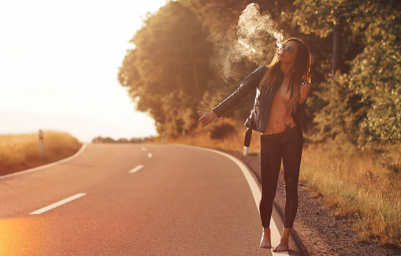 Photo wallpaper road, girl, smoke