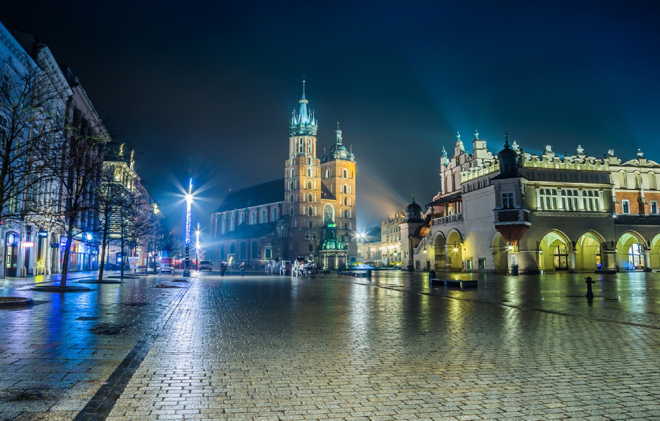 Photo wallpaper night, the city, lights, area, Poland, Cathedral, Krakow