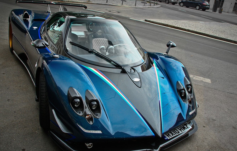 Photo wallpaper supercar, sports car, Pagani, Tricolor, Zonda, probe, Pagani